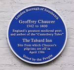 Plaque marking site of Chaucer's Tabard Inn