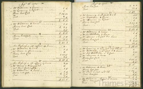 Brentford Ferry Account Book - 16-26 September 1735